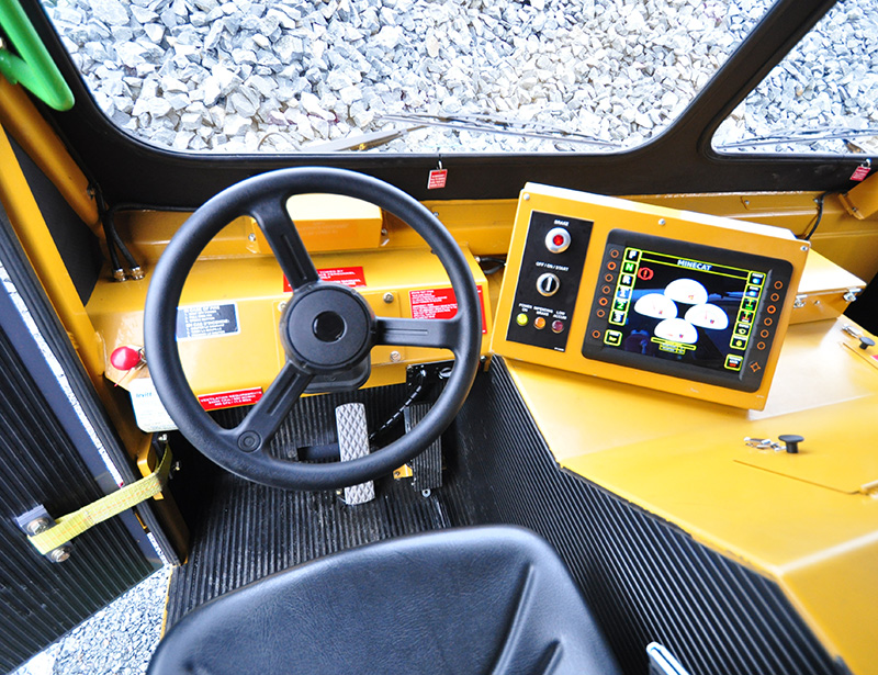 View of Steering Wheel and Dash of the MINECAT CF240 Mining Personnel Carrier