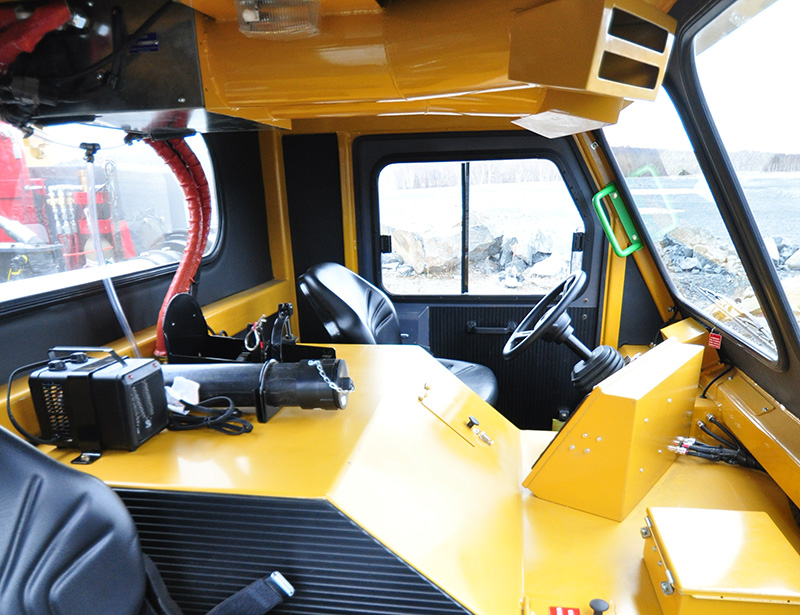 View of Operator Cab from Passenger Seat of the MINECAT CF240 Mining Personnel Carrier